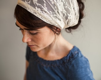 Ivory Lace Garlands of Grace Headcovering Hair Veil Wedding