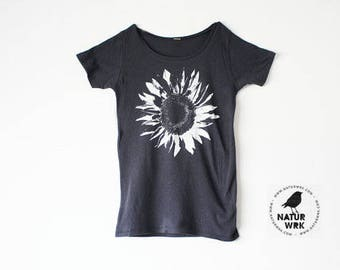 Organic Clothing - Womens Flower Shirt  -  White Sunflower - Bamboo - Organic Cotton - In Small, Medium, Large, XL