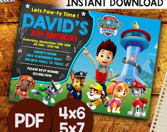 Paw Patrol Invitation, Paw Patrol Birthday Invitation, Paw Patrol Invitation Instant Download, Paw Patrol Invitation Boy, Editable Pdf