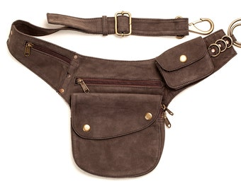 Travel Belt, Pocket Belt Leather, Leather Utility Belt, Utility Belt Brown, Bumbag, Leather Bumbag, Brown Bum Bag, Pocket Belt,festival Belt