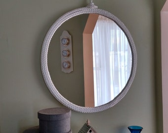 Rope Mirror - 24 inches Large Coastal Cottage Beach Mirror Nylon and Manila Rope Wrapped Mirror with Nautical Clasp