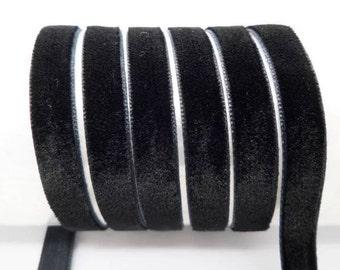 """3/8"""" Black Velvet Ribbon by the Yard   U62"""