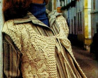 Cable Knit Vest Vintage Knitting Pattern Instant Download