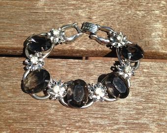 Juliana D&E Grey Oval Rhinestones with Clear Rhinestone Five Link Bracelet