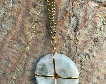 RAINBOW MOONSTONE Crystal Necklace on Antique Gold Chain | Natural Moonstone Doughnut Donut Pendant, Crystal Healing Round Circle Necklace