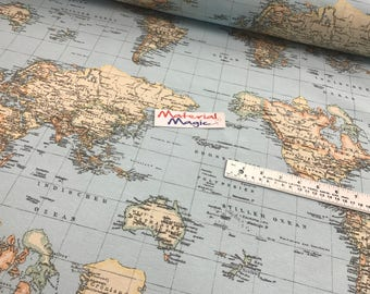 World map fabric etsy 100 cotton linen look world map fabric gumiabroncs Choice Image