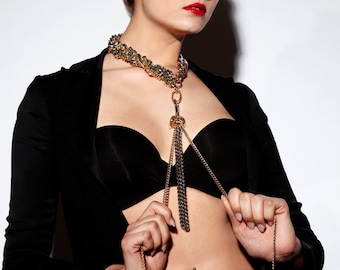 Long Tassel Chain Necklace - Chain Choker w. Removable Leash - NYE Long Necklace - Glitz and Glam - Gold & Silver Toned - BAD GIRLS