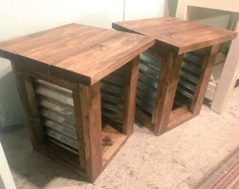 Rustic end tables Etsy