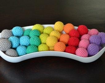 10 pcs Organic Crocheted Beads, 100% organic cotton, purple violet pink red orange yellow minty green blue grey gray brown beige peach
