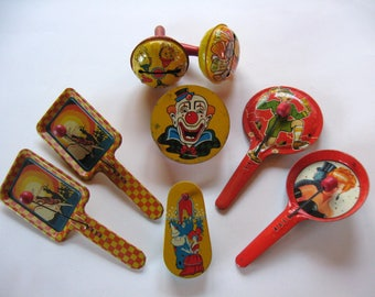8 Colorful VINTAGE METAL NOISEMAKERS - Bells, Clappers, Cranks -  by U S Metal Toy | Kirchhof | T.Comm - for your next Celebration!