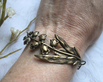 Lily of the Valley bracelet, brass cuff style, womens gift, woodland, nature jewelry, vintage inspired, gift for her