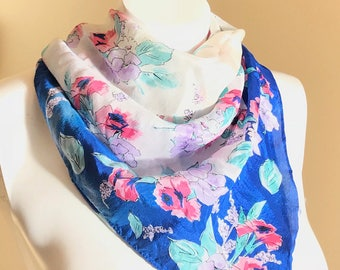 Vintage 60's Silk Scarf / Blue White Floral / Neck Scarf