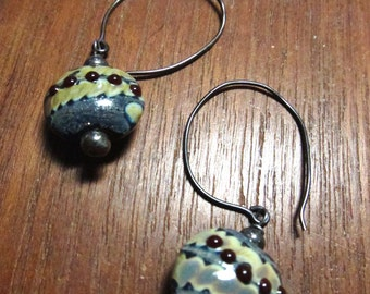 CABERNET GRAY Earrings, Murano Glass Lampwork Earrings
