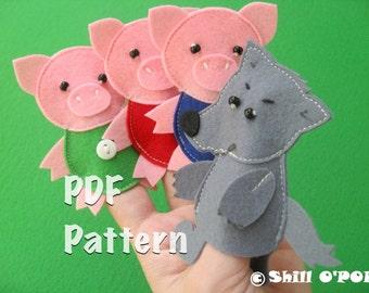The Three Little Pigs Felt Finger Puppet Toys PDF Pattern