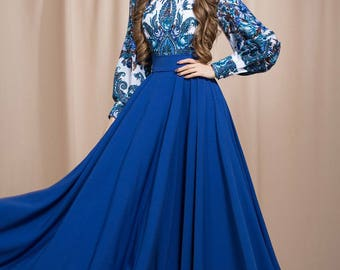 Summer dress maxi, blue maxi dress,  summer dresses for women, long sleeve dress, Floral Boho dress, bohemian dress, boho chic, boho dress