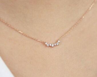 Diamond necklace etsy aloadofball Images