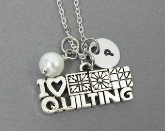 I Love Quilting Necklace - Handstamped Initial, Personalized Name, Customized Swarovski crystal birthstone