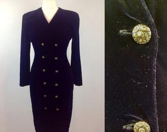 Vintage 80s Black Velvet Dress, Blazer Dress, Suit Dress, Long Sleeved Dress, Evening Dress, Retro Dress, Little Black Dress, Size 14 Large