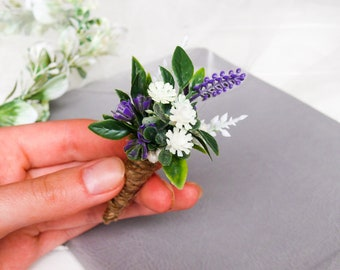 Lavender Boutonniere, Wedding Boutonniere, Country Boutonniere, Rustic Buttonhole, Groomsmen Flower, Lilac Button Hole, Groom Boutonniere
