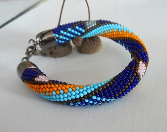 Bead crochet bracelet bracelet crochet beads dark Blau Bracelet jewelry round Bangle