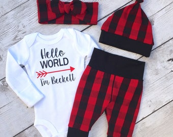 Buffalo plaid baby outfit, lumberjack baby, going home outfit, hello world, Newborn set, new baby set, plaid baby set, gender neutral set
