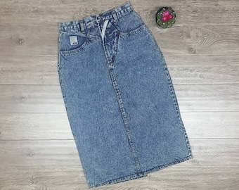 "80s acid wash skirt w27"" jordache jean highwaisted"