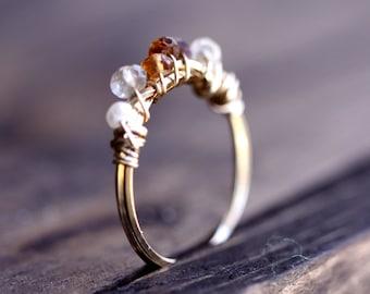 Multi Gemstone Ring - Tourmaline Ring, Gold Ring, Gemstone Jewelry, thepaintedgrove