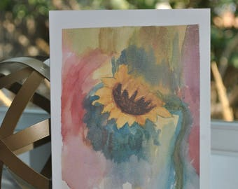 Beautiful {blank} Watercolor greeting card made by 8 year old artist:  Sunflower