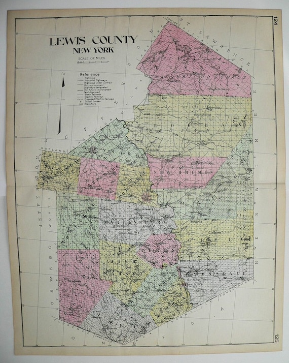 1912 Lewis County NY Map New York County Large Map Original