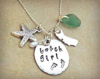 beach girl, beach girl necklace, beach girl jewelry, state necklace, Hawaii necklace,California necklace,personalized necklace, natashaaloha