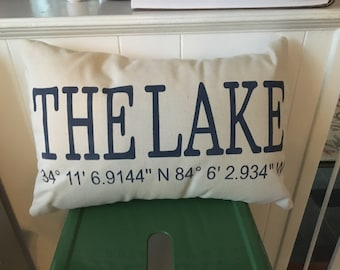 Custom LONG/LAT 12X18 Pillow cover with INSERT