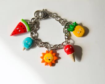 Bracelet, charm, fimo, polymer clay, polymer clay, sun, ice cream, pineapple, watermelon, popsicle, cute, kawaii, girly, summer
