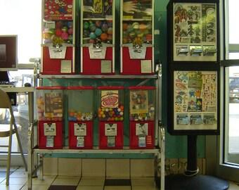 gumballs photo, pop art photography print, Chicago Photo, laundramat, gumball machines, red, aqua, Realism, candy, retro, kids, teens