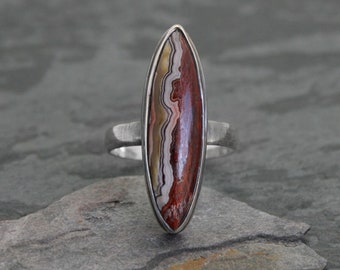 Painted Desert Ring Sterling Silver Statement Ring Southwestern Organic Natural Gemstone Montana Crazy Lace Abstract Art Ring Marquise Gem