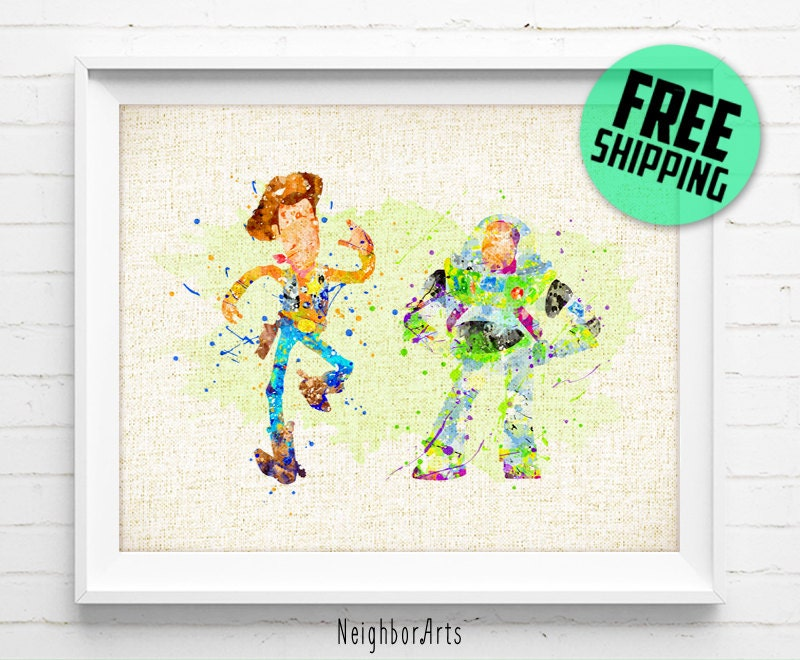 Disney Toy Story Buzz and Woody Poster Watercolor Painting