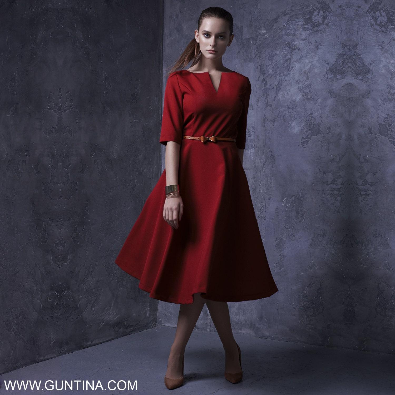 Rot Brautkleid Plus Size lange Kleid Pin-up Kleid