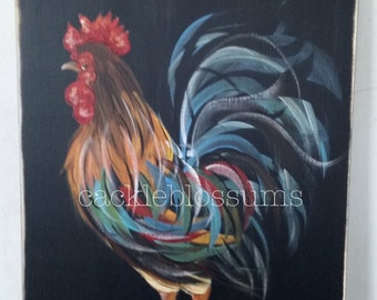 "11"" x 22"" #414 Rooster Welcome Friends Art on Rustic Wood"