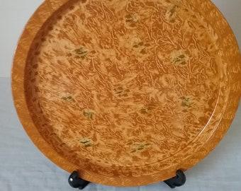 Round tray vinegar painted in ocher
