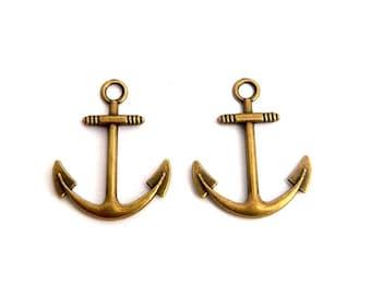 LOT 2 charm pendant anchor marine bronze 30x25mm