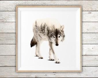 Gray Wolf - Double Exposure - Modern Art Print
