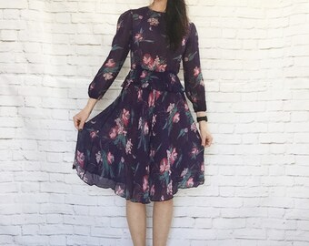 Vintage 70s Sheer Floral Peplum Dress S Purple Puff Sleeve Asymm Knee Length