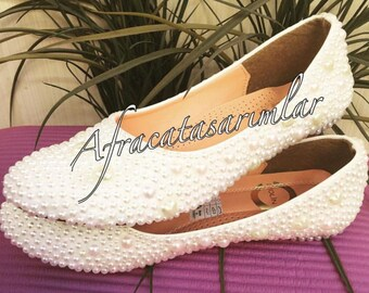 Wedding Ballet Flats, Pearl Shoes, Bridal Shoes, Pearl Women Shoes, Bride Ballet Flats, Wedding Shoes, Custom Ballet Shoes, Custom Shoes,
