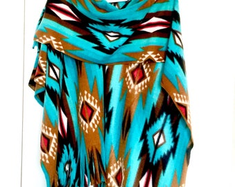 Teal Aztec Navajo Southwest Ladies Ruana Wrap (one size fits all)