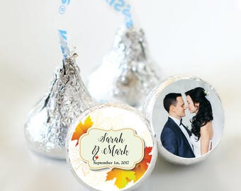 108 Fall Bridal Shower Hershey Kiss Stickers  - Bridal Shower Kiss Labels - Fall Leaves Kiss Labels - Bridal Shower Decor - Fall Wedding