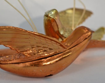 Vintage Gold Molded Plastic Bird Christmas Ornaments