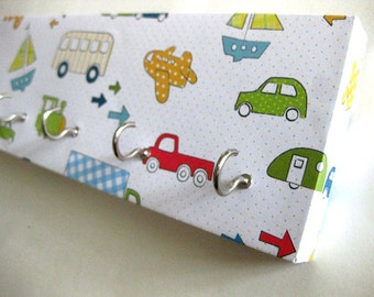 "Key Rack and Hat Rack  - ""Transportation"" -  Cars, Trucks, Busses, Boats, Trains, Green, Red, Yellow, Orange, Blue, Polka Dots, Stripes"