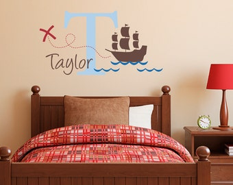 Initial Wall Decal with Name and Pirate Ship - Personalized Name Wall Decal - X marks the spot - Medium