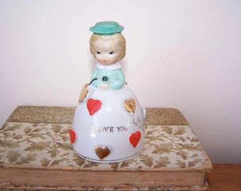 I Love You, Girl Figurine Bell, Chase Made in Japan, Valentine Bell, Hand Painted, Translation Bell, Collectible Bell, Vintage Souvenir Bell