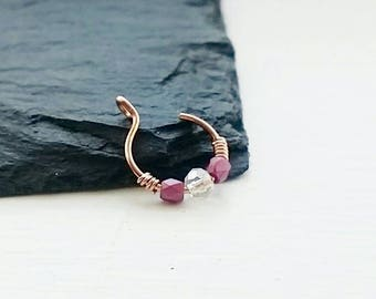 Rose Gold Nose Ring - Fake Nose Ring - Nose Ring - Clip On Nose Ring - Faux Piercing - No Piercing Nose Cuff