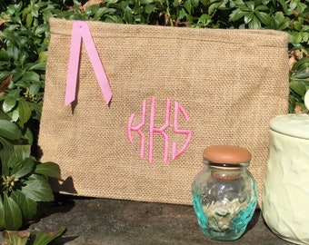 Personalized Bridesmaid Gift,Burlap Cosmetic Pouches, Wedding, Makeup Bag, Travel Make up Bags, Monogrammed Bag Purse